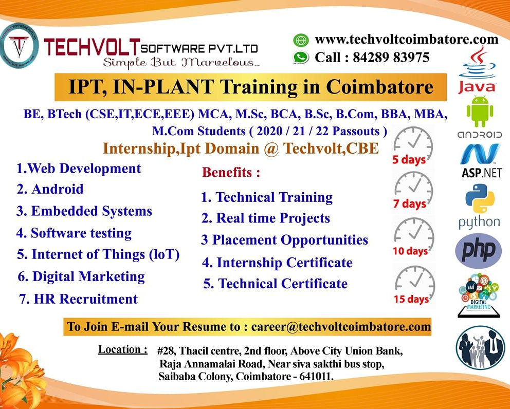 Embedded Systems Internship - Techvolt Software Coimbatore - ScrollList.com
