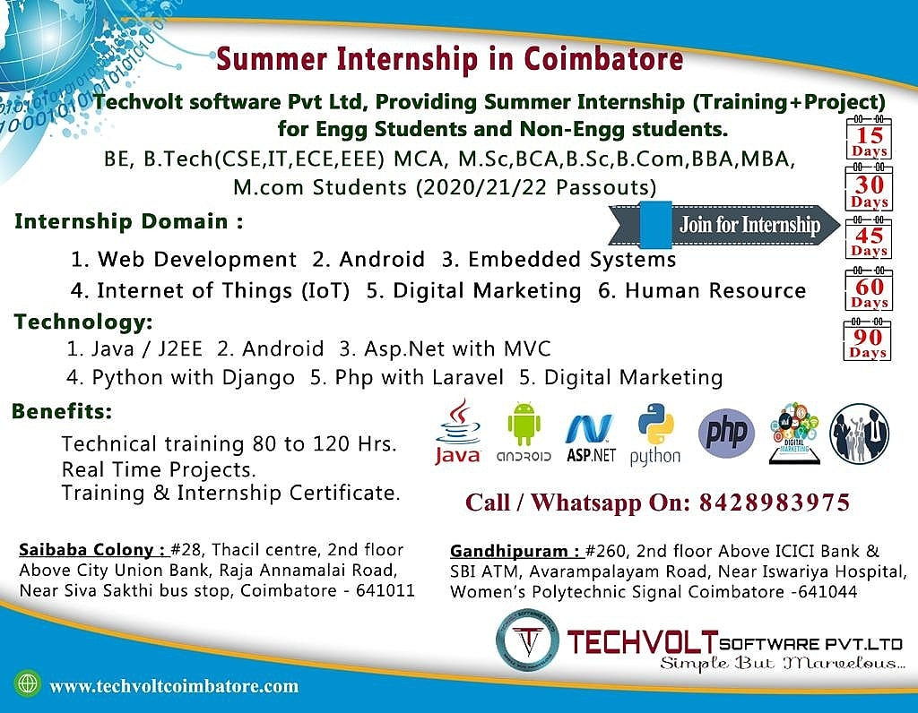 Java Summer Internship Techvolt Software Coimbatore - Techvolt Software Coimbatore - ScrollList.com