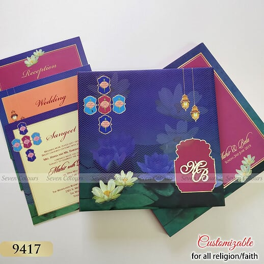 Wedding Invitation Cards India - Seven Colours Card - ScrollList.com